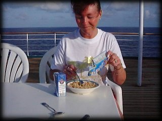 Very strong winds whilst sailing to Vancouver meant 'breakfast on deck' was difficult